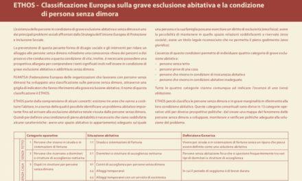 Ethos – La classificazione dei Senza Dimora e della Esclusione Abitativa