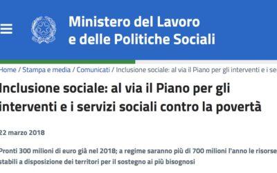 Inclusione sociale: al via il Piano per gli interventi e i servizi sociali contro la povertà