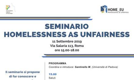 "11 settembre, Roma – seminario ""HOMELESSNESS AS UNFAIRNESS"""