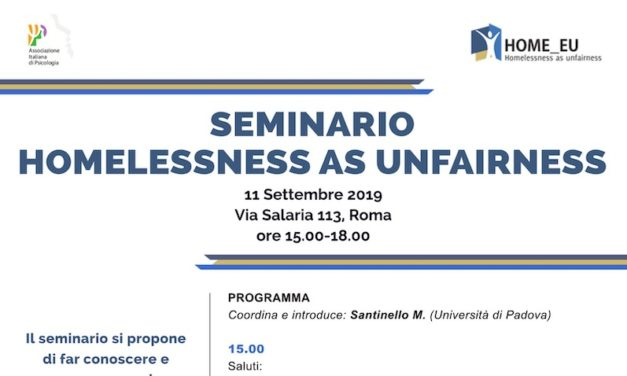 "11 settembre, Roma – seminario ""HOMELESSNESS AS UNFAIRNESS"""
