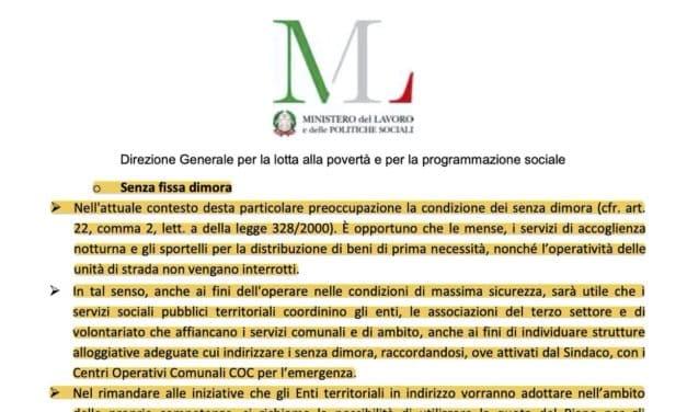 Circolare del Ministero: Sistema dei Servizi Sociali – Emergenza Coronavirus