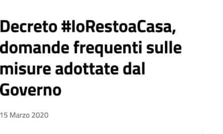 FAQ su Servizi Sociali – decreto #IoRestoaCasa