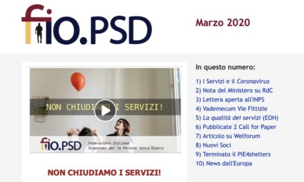 Newsletter fio.PSD – Marzo 2020 – Appello: NON CHIUDIAMO I SERVIZI!