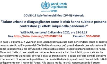 Webinar WHO: Salute urbana e disuguaglianze…